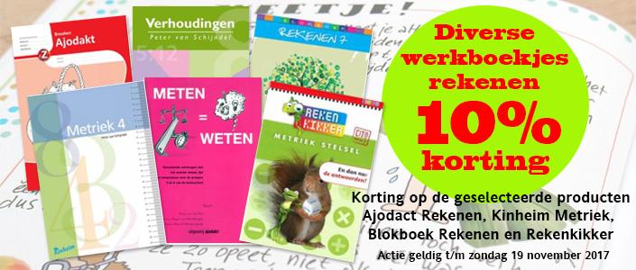 Gedurende de Kinderkookboek7 daagse zijn deze producten extra voordelig! 10% korting! Korting op de geselecteerde producten Ajodact Rekenen, Kinheim Metriek, Blokboek Rekenen en Rekenkikker